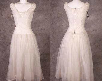 Vintage 1950s White Chiffon Party Dress