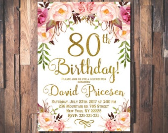 80th birthday invitations etsy 80th birthday invitation for women 80th birthday invitation 80th birthday floral party invitation filmwisefo Choice Image