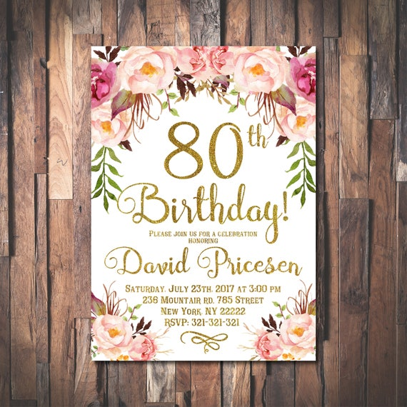 80th Birthday Invitation for women 80th Birthday Invitation