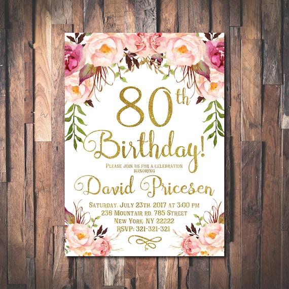 80th birthday invitation for women 80th birthday invitation filmwisefo