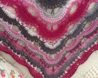Handmade Scarf, Wrap, Shawl in pinks, whites and grey crochet