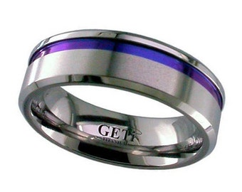 Flat Court Titanium Wedding Ring With Anodised Coloured Groove & Chamfered Edges - Made to Order - FREE ENGRAVING
