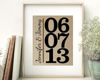 Wedding Date Burlap Print | Special Important Date With Names Personalized Burlap Print | Birth Date Wedding Anniversary Keepsake Gift