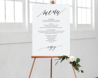 Wedding Menu Sign Template, Table Wedding Menu, Calligraphy Wedding Menu, Wedding Menu Poster | Edit in Word and Pages
