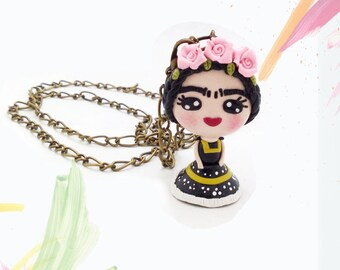 Mexican Jewelry, Frida kahlo necklace, frida jewelry, pastel pink flowers, gift for her, frida pendant, doll necklace