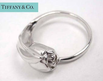 Vintage Tiffany & Co. Sterling Silver Rose Flower Form Ring Size 6