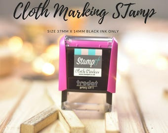 CLOTH STAMP, sew in labels, fabric stamp, Self Inking Stamp, name stamp, textile stamp, logo onto fabric, - Custom stamp, childs name labels