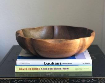 Mid Century Tulip Shaped Monkey Pod Wood Centerpiece Bowl