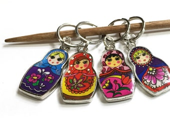 Russian Stacking Doll Stitch Markers, Set of 4, CHOOSE knit or crocket style. Matryoshka Doll Gift for a knitter. Gift for crocheter.