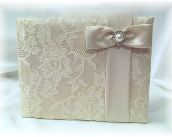 Champagne Wedding Lace Guest Book