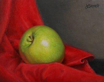 Green Apple_Still Life_Original Oil Painting_Wood Frame
