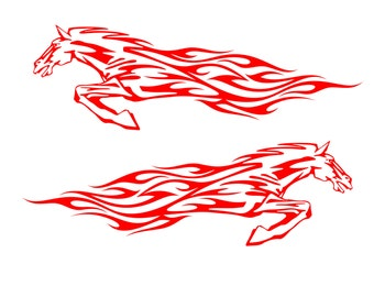 Running Horse Flame Vinyl Decal Stickers - Cars, Boats, Motorcycle Gas Tank Badge - Select Color