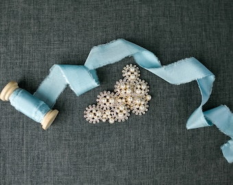 Ice Blue Silk Ribbon; 100% Silk; Wedding bridal bouquet, invitations, wedding favors, wedding photography styling