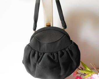 Black Evening Bag, Vintage Black Purse, Mid Century Bag, Vintage Black Bag, 1950's,  EB-0427