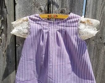 Newborn Summer Dress, Baby Shower Gift, Stripes and Lace, 0-3 months Sundress