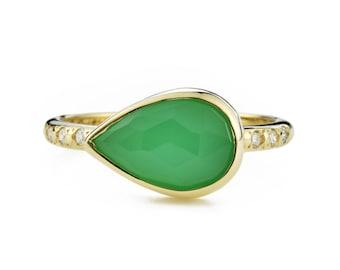 Chrysopras-Diamant-Ring, 14K Gold grün Chrysopras Ring mit kanadischen Diamanten, Größe 6