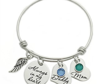 Personalized Always In My Heart Bracelet - Custom Jewelry - Expandable Wire Bangle - Miscarriage Loss Remembrance - Memorial Jewelry - 1118