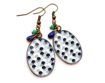 Earrings Cabochons • Pop waves • blue glass brass