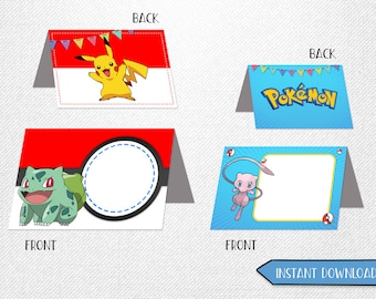 Pokemon food cards, Pokemon tent cards, Pokemon place cards, Pokemon food labels!