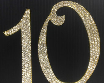 Rhinestone Gold  NUMBER (10) Cake Topper 10th Birthday Parties FREE SHIPPING