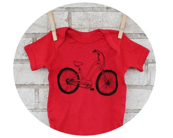 Beach Cruiser Bicycle Baby One Piece, Red Clothes, Cotton  Bodysuit, Onepiece, Shower Gift, Unisex Baby Clothing, Screen-printed Graphic