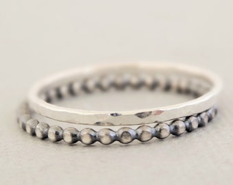 Sterling Silver Rings - set of 2 - Oxidized Beaded Wire Ring and one hammered ring