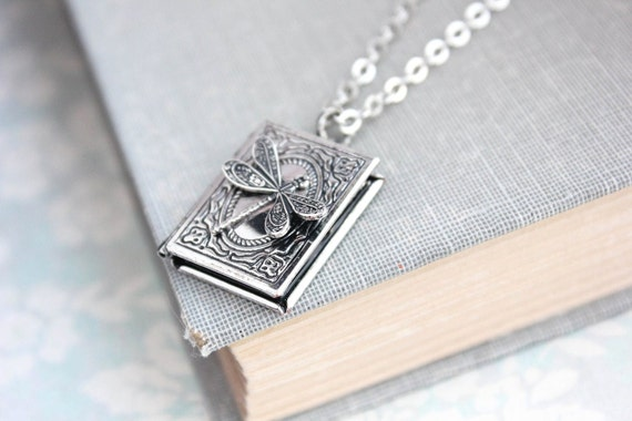 Dragonfly necklace wings book locket pendant antique silver like this item aloadofball Images