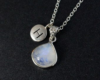 Rainbow Moonstone Letter Necklace – Choose Your Moonstone - 925 Sterling Silver