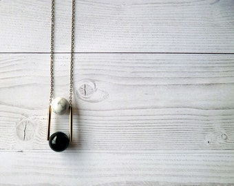 Long necklace with geometric pendant. Black Onyx and Howlite pendant. Geometric pendant necklace. Geometric gemstone necklace.