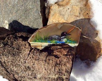 Loon painting on rock, Painted rock, Small bird painting, Acrylic painting, Lake decor, Cottage decor, Coastal decor, Beach bathroom art