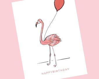 HAPPY BIRTHDAY - Pink Flamingo