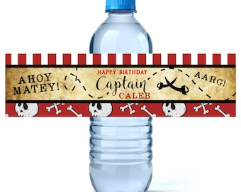 Pirate Birthday Water Bottle Labels - Birthday Water Bottle Label - Personalized Water Bottle - Ahoy Matey - Pirate Party Decor