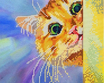 Find the Cat DIY beaded embroidery kit, bead stitching, beading on needlepoint kit, beadpoint, beaded painting craft set