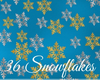 Snowflakes Decals in 2 Colors - Winter Wonderland, Winter Onederland Birthday Party Decorations, Vinyl Wall Decals, Holiday Decor