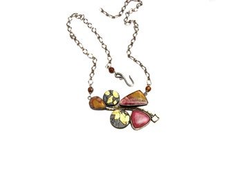 Sterling Silver Necklace, Pendant with Cherry Creek Jasper, and Gold Leaf.