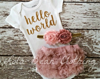 Baby Girl Coming Home Outfit Take Home Outfit Baby Girl Hello World Outfit Bodysuit Bloomers Headband lolabeanclothing Dusty Rose Baby