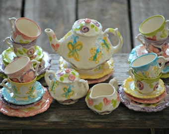 Girls Personalized Tea Set // Whimsical Mix-N-Match Personalized Little Girl's Child's Sized Tea Set & 4 Tea Cups Handpainted...