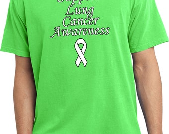 Men's Support Lung Cancer Awareness Pigment Dyed Tee T-Shirt SLUCA-PC099