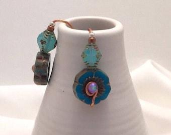Blue Flower Earrings, Czech Glass, swarovski, Copper, Drop Earring, Flower, Boho, Artsy