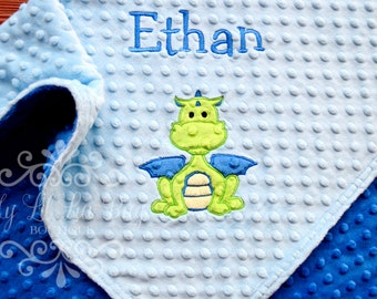 Personalized baby blanket with name - baby boy dragon minky blanket - custom minky blanket embroidered - baby shower gift - large stroller