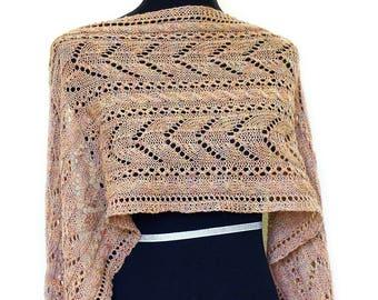 Knit shawl, lace stole, Leola wrap, Lace shawl, knitted stole, knitted shawl, beige shawl
