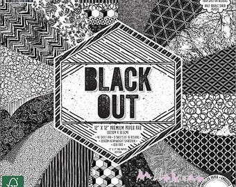 """Printed papers, collection """"Black Out"""", background papers, 16 leaves"""