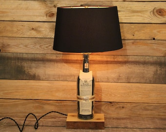 Basil Hayden's Bourbon Bottle Lamp / Bourbon Barrel Char, Reclaimed Wood Base, Unique Desk Lamp, Whiskey Light Bourbon Gift, Whiskey Gift