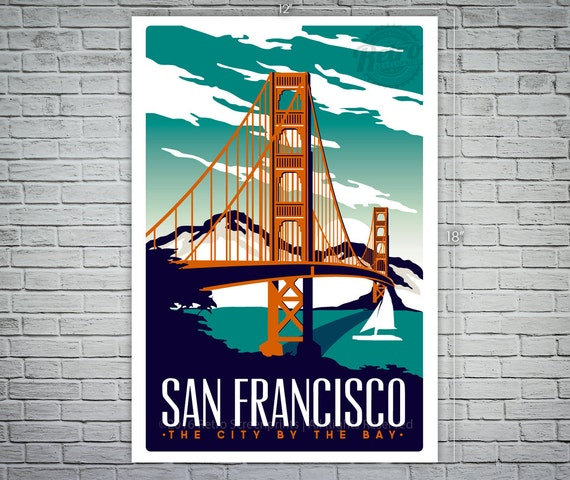 San Francisco Travel Poster Vintage Golden Gate Bridge Screen