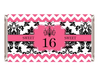 Sweet 16 Hershey Bar Wrapper, Instant Download Printable Sweet Sixteen Party Favors 1.55 oz. Candy Wrappers
