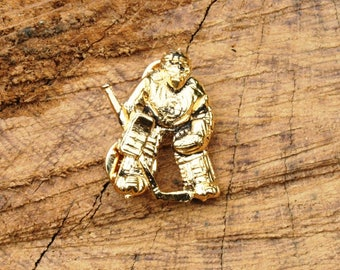 Ice Hockey Goalie Gold Plated Pin Lapel Badge Hockey Gift