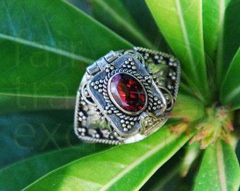 Garnet Ring with Locket