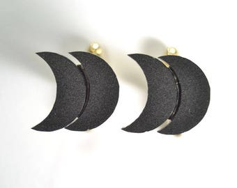 Minimal Black doble moon cufflinks gift for him groomsman- geometric minimal cuff links