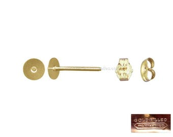 Gold Filled 14K - Disc 6mm: 2 or 10 spikes studs