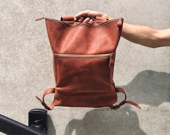 Handcrafted LEATHER BACKPACK  / Handcrafted leather Rucksack with one front zipper pocket / Cognac Brown Leather bag